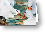 Goose Drawings Greeting Cards - Just Duckie Greeting Card by Mindy Newman