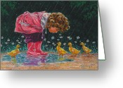 Raining Greeting Cards - Just Ducky Greeting Card by Richard De Wolfe