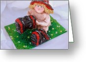 Fireman Boots Greeting Cards - Just Like Daddy Greeting Card by Alison  Galvan