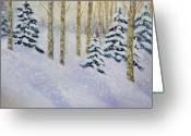 Ski Art Painting Greeting Cards - Just Like Yesterday Greeting Card by Zanobia Shalks