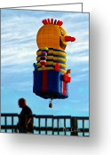 Fun Greeting Cards - Just passing through  Hot Air Balloon Greeting Card by Bob Orsillo