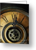 Clock Hands Greeting Cards - Just Past Midnight Greeting Card by Jill Battaglia