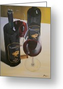 Wine Bottle Prints Greeting Cards - Just The 2 Of Us Greeting Card by Brien Cole