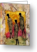 Sunny Days Greeting Cards - Just the THREE of Us Greeting Card by Angela L Walker