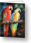Lovebird Painting Greeting Cards - Just The Two Of Us Greeting Card by Ilona Tigges - Goetze