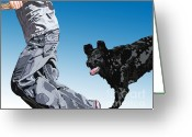 Black Lab Puppy Greeting Cards - Just Throw the Stick Greeting Card by Cathy  Beharriell