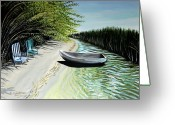 Boat Greeting Cards - Just You and I Greeting Card by Elizabeth Robinette Tyndall