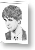 (murphy Elliott) Drawings Greeting Cards - Justin Beiber Greeting Card by Murphy Elliott