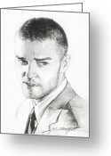 Man Drawings Greeting Cards - Justin Timberlake Drawing Greeting Card by Lin Petershagen