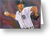 Curve Ball Greeting Cards - Justin Verlander Throws a Curve Greeting Card by Nora Sallows
