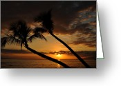 Lahaina Greeting Cards - Kaanapali Beach Sunset Greeting Card by Kelly Wade