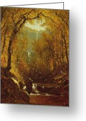 Hudson River Greeting Cards - Kaaterskill Falls Greeting Card by Sanford Robinson Gifford