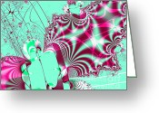Mandelbrot Set Greeting Cards - Kabuki Greeting Card by Wingsdomain Art and Photography