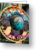 Spiritual Pyrography Greeting Cards - Kachina Sun God  Greeting Card by C Whitehawk