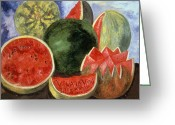Watermelon Seed Greeting Cards - Kahlo: Viva La Vida, 1954 Greeting Card by Granger