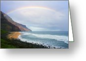 Golden Sand Greeting Cards - Kalalau Beach Rainbow Greeting Card by Kevin Smith