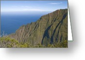 Na Pali Coast Kauai Greeting Cards - Kalalau Lookout over the Na Pali Coast Kokee State Park Kauai Hawaii Greeting Card by Brendan Reals