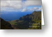 Na Pali Coast Kauai Greeting Cards - Kalalau Storm Clearing Greeting Card by Mike  Dawson