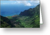 Island Photos Greeting Cards - Kalalau Valley 1 Greeting Card by Ken Smith