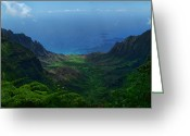 Island Photos Greeting Cards - Kalalau Valley 3 Greeting Card by Ken Smith