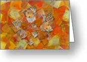 Gold Mixed Media Greeting Cards - Kaleidoscope  Greeting Card by Sveta Shved