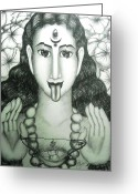 Goddess Posters Greeting Cards - Kali god Greeting Card by Sri Mala