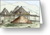 Ancient People Greeting Cards - Kamchatka Settlement, Artwork Greeting Card by Sheila Terry