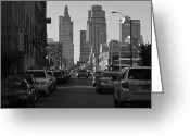 Avenue Of The Arts Greeting Cards - Kansas City bw Greeting Card by Elizabeth Sullivan