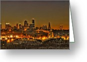 Kansas City Missouri Greeting Cards - Kansas City Missouri at Dusk Greeting Card by Don Wolf
