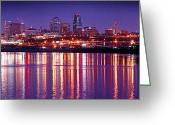 Kansas City Missouri Greeting Cards - Kansas City Missouri Skyline at Night Greeting Card by Jon Holiday