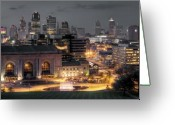 Station Greeting Cards - Kansas City Skyline Greeting Card by Ryan Heffron