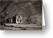 Nightmares Greeting Cards - Kansas Farm House I Greeting Card by Thomas Bomstad