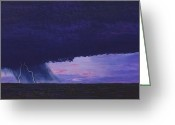 West Pastels Greeting Cards - Kansas Lightning Storm Greeting Card by Garry McMichael