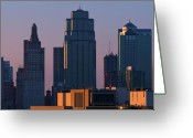 Kansas City Missouri Greeting Cards - Kansas Skyline Greeting Card by Ryan Heffron