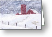 Landscapes Pastels Greeting Cards - Kansas Snow Storm Greeting Card by Garry McMichael