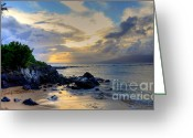 Trees Photograph Greeting Cards - Kapalua Sunset View Greeting Card by Kelly Wade