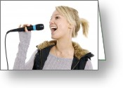 Karaoke Greeting Cards - Karaoke Greeting Card by Johnny Greig