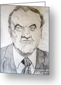 Streets Drawings Greeting Cards - Karl Malden Lt Stone Streets of San Francisco Greeting Card by Donald William