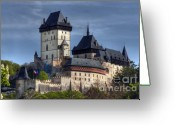 1300s Greeting Cards - Karlstejn - gothic castle Greeting Card by Michal Boubin
