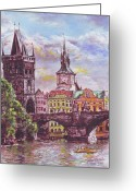Prague Pastels Greeting Cards - Karluv most a Novotneho lavka  Greeting Card by Gordana Dokic Segedin
