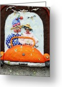 Orange Reliefs Greeting Cards - Karma Greeting Card by Alison  Galvan