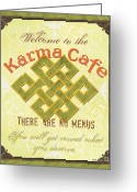 Orange Greeting Cards - Karma Cafe Greeting Card by Debbie DeWitt