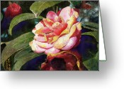 Blossom Painting Greeting Cards - Karma Camellia Greeting Card by Andrew King