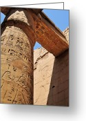 Archaeology Greeting Cards - Karnak Temple Columns Greeting Card by Michelle McMahon