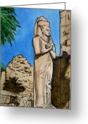 Sketchbook Greeting Cards - Karnak Temple Egypt Greeting Card by Irina Sztukowski