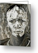 Tribe Greeting Cards - Karo Man Greeting Card by Enzie Shahmiri