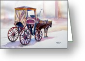 Carriage Greeting Cards - Karozzin Greeting Card by Marsha Elliott