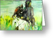 Wild Horse Painting Greeting Cards - Kasak with Falcon Greeting Card by Miki De Goodaboom