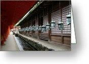 Red Building Greeting Cards - Kasuga Taisha Greeting Card by Jessica Rose
