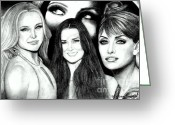 Drew Barrymore Greeting Cards - Kate Hudson Demi Moore Penelope Cruz and eyes of Drew Barrymore Greeting Card by Steve Baker Sanfellipo